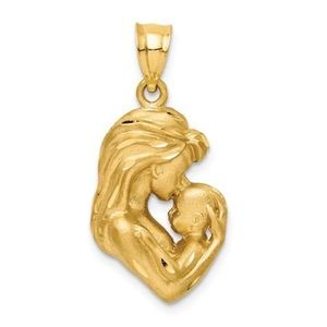 Jewelry - 14K Yellow Gold Mother Newborn Baby Charm